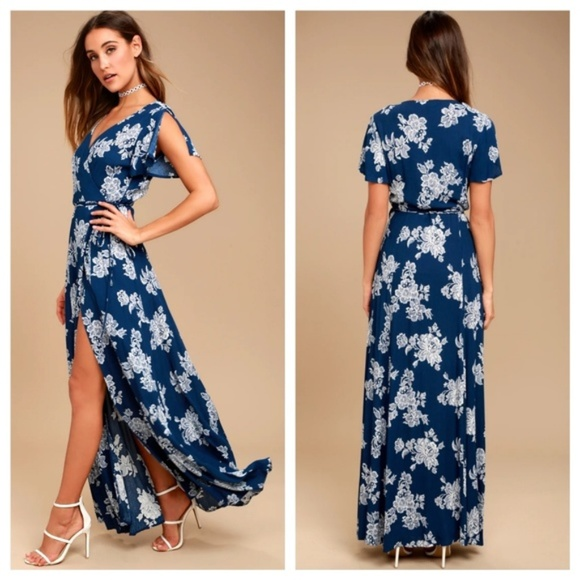 Lulu's Dresses & Skirts - Navy Blue Floral Print Wrap Maxi Dress  *BRAND NEW